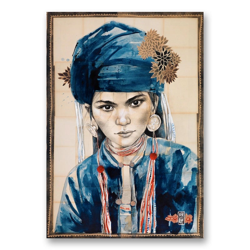 "Image of Paper Art Print - ""Le chèche indigo"""