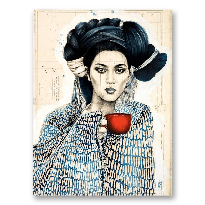 "Image of Paper Art Print - ""La tasse rouge"""
