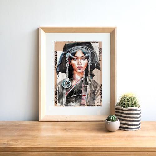 "Image of Paper Art Print - ""Femme Akha"""