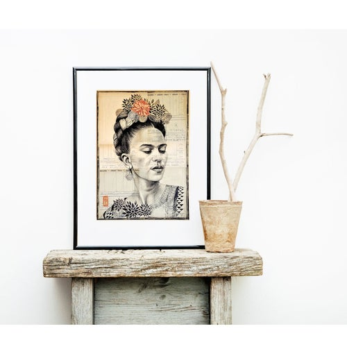"Image of Paper Art Print - ""Frida N&B"""