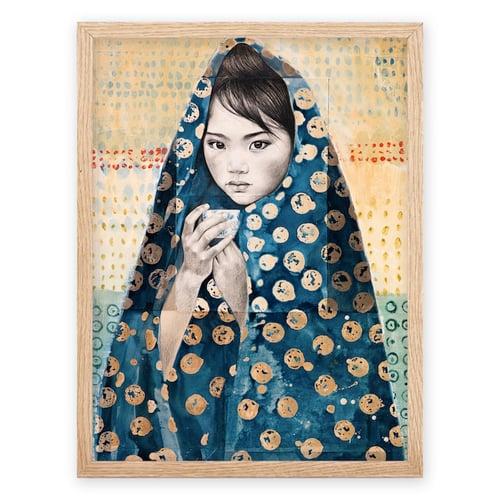 "Image of Paper Art Print - ""Voile Indigo à Pois"""