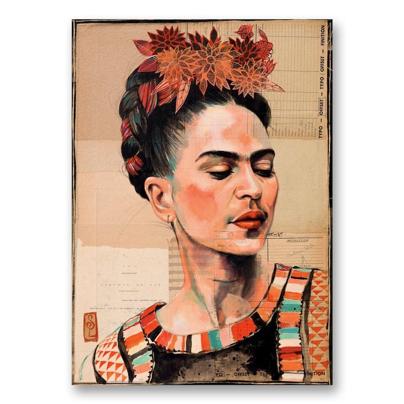 "Image of Paper Art Print - ""Frida en couleur"""