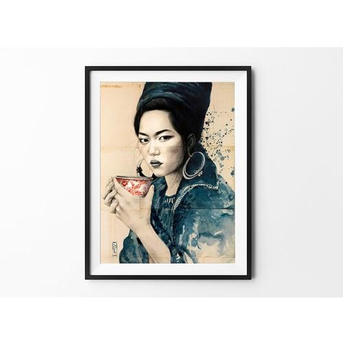 """Image of Paper Art Print - """"Pause thé chez les Hmong noirs"""""""
