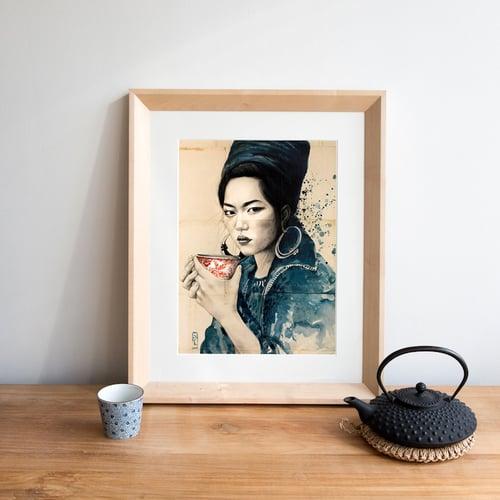 """Image of Paper Art Print - """"Pause thé chez les Hmongs Noirs"""""""