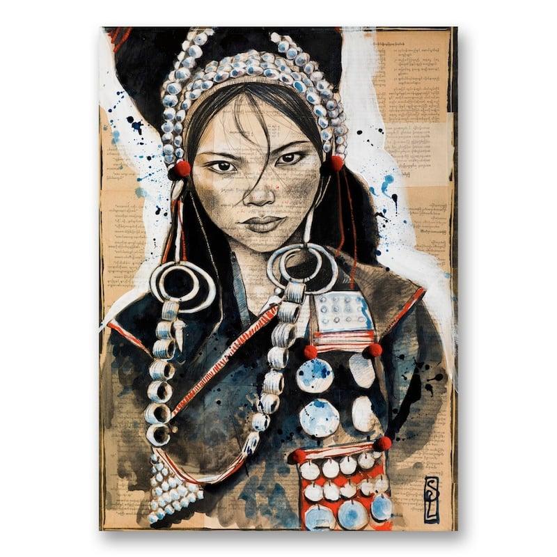 "Image of Paper Art Print - ""Parures Akha"""