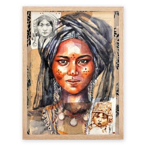 """Image of Paper Art Print - """"Le voile bleu"""""""