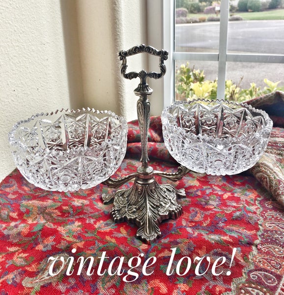 Image of Vintage Crystal and metal Serving Dish