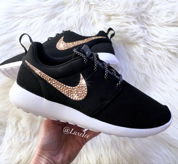 Image of Nike Roshe Run Black/White customized with Rose Gold SWAROVSKI Xirius Rose-Cut Crystals.
