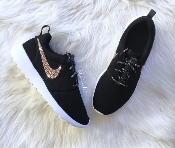 Image of Nike Roshe Run Black/White customized with Rose Gold SWAROVSKI Xirius Rose-Cut Crystals.