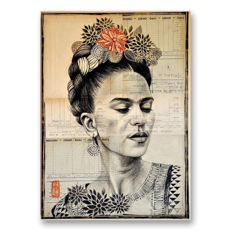 "Image of Canva Art Print - ""Frida en N&B"""