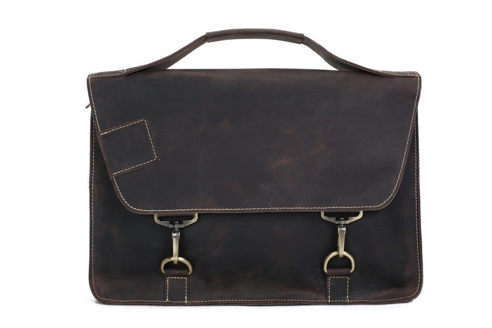 Image of Vintage Style Genuine Leather Briefcase Men's Messenger Bag Laptop Bag Business Handbag 9081