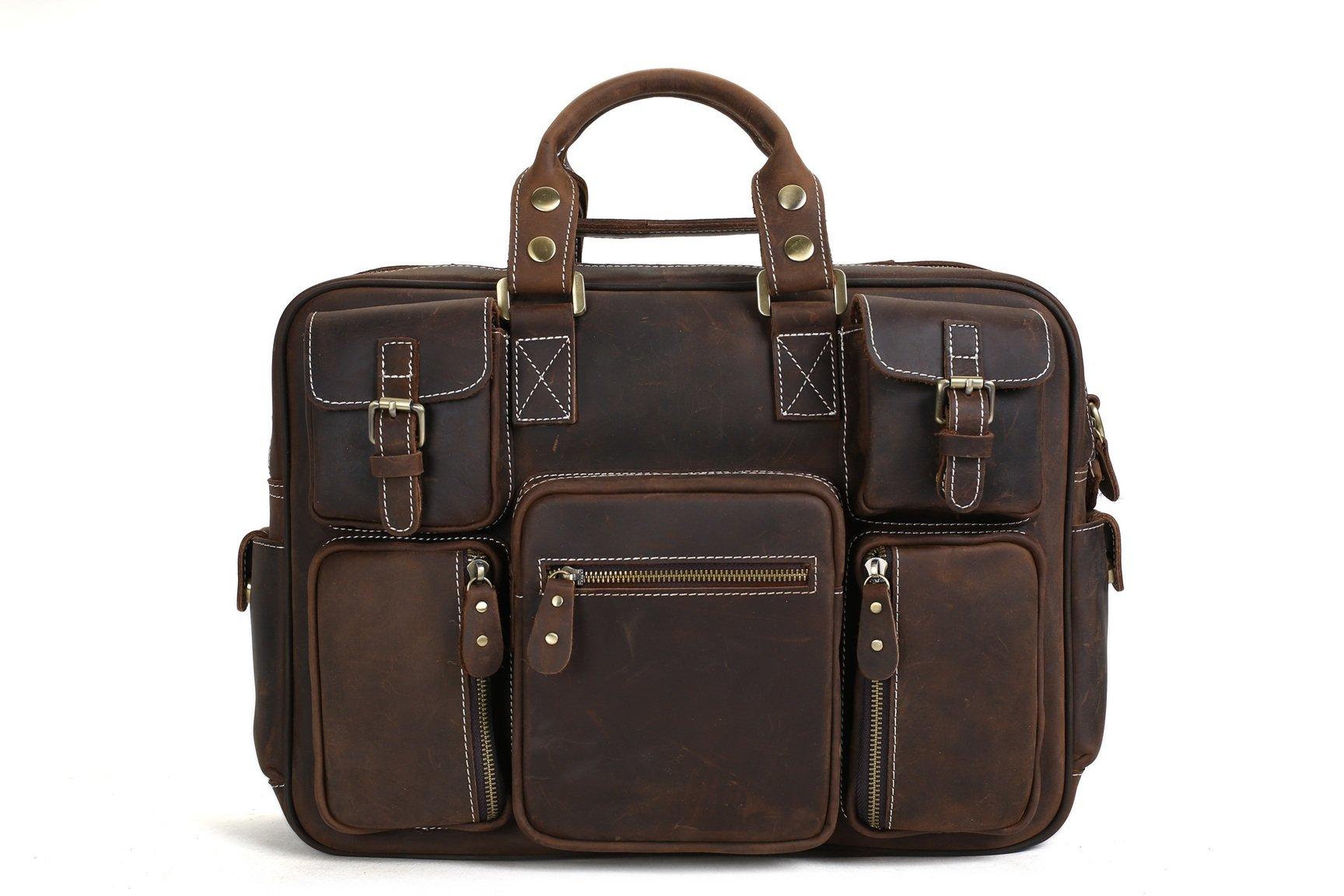 9a8ad99c68458 MoshiLeatherBag - Handmade Leather Bag Manufacturer — Handcrafted Vintage Extra  Large Genuine Leather Travel Bag Duffle Bag Organizer Bag 7028