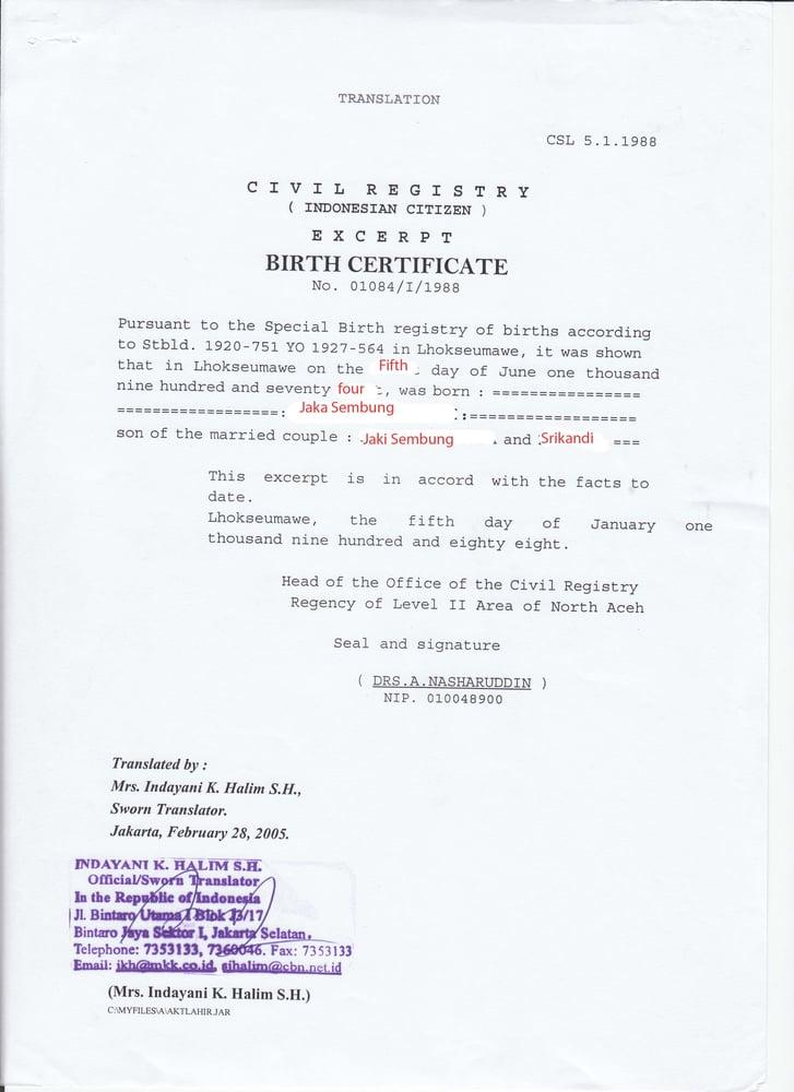 centcrosto form no 5 birth certificate download