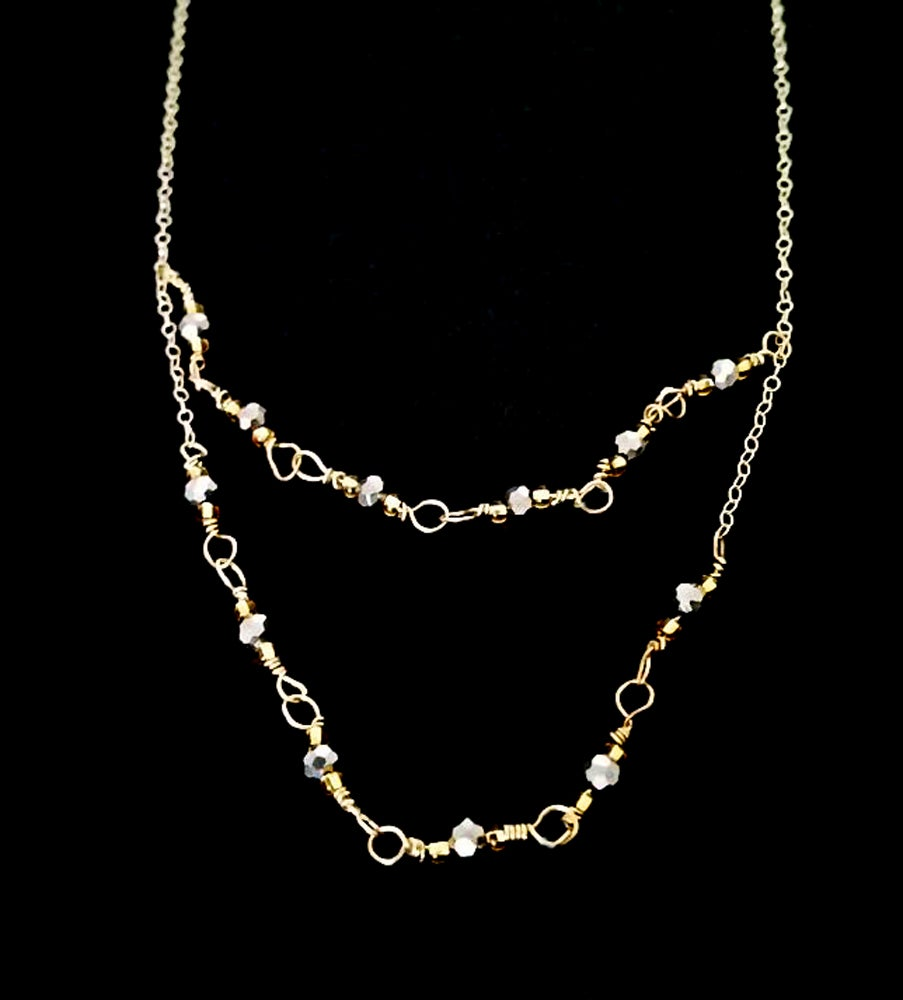 Image of 14K Gold Delicate Layer Multi-strand Necklace with Faceted Hematite Stone Beads