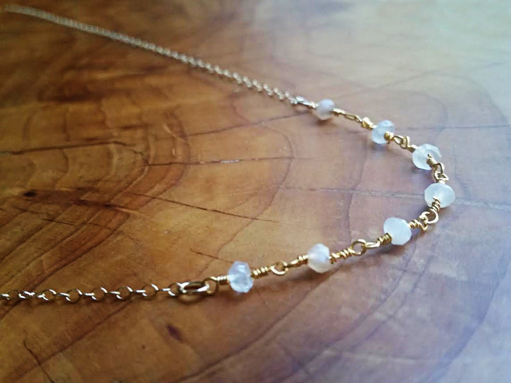 Image of 14K Gold Necklace for Layering with Faceted Moonstone Bead Accents