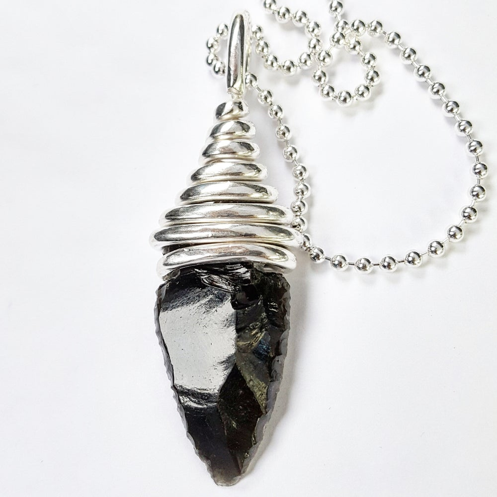 Image of Pure Silver Wrapped Black Obsidian