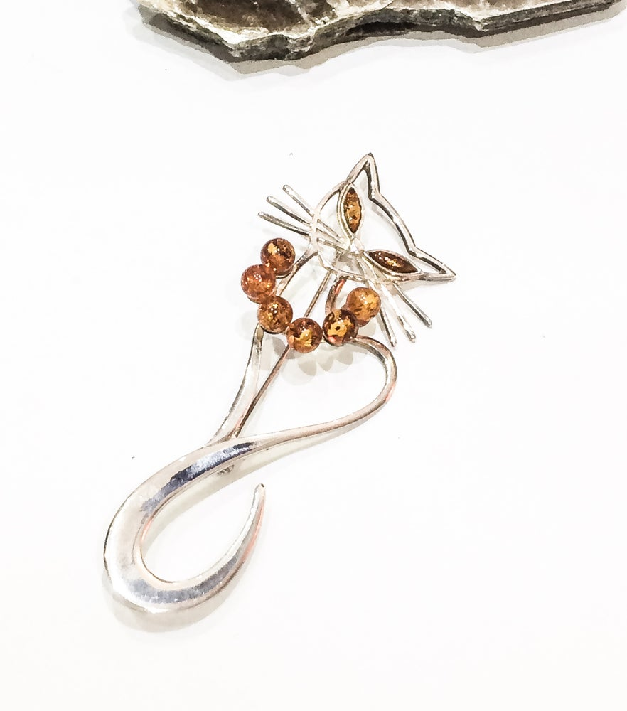 Image of 925 Silver and Amber Cat Brooch