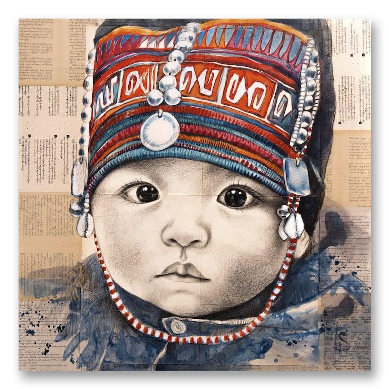 "Image of Canva Art Print - ""Bébé Akha"""