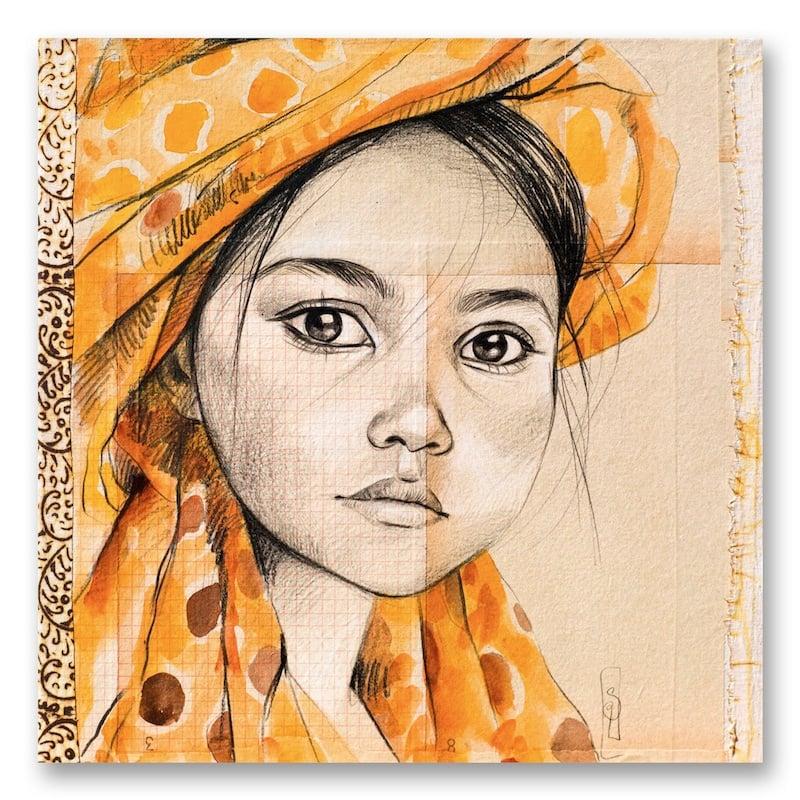 """Image of Canva Art Print - """"Le Voile Jaune à Pois"""""""