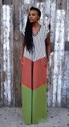 •Tara• A-line Kaftan Dress: summer multi stripe