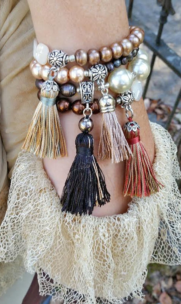 Image of Two-Color Freshwater Cultured Pearls Stacking Tassel Bracelet Brown and Pink Mauve