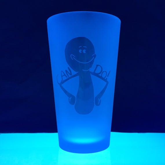 Image of Reverse-etched Meseeks Pint Glass (LIMITED RUN)