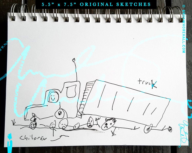 Image of Children Playing Under Truck — Original Art:  Sketch book Series