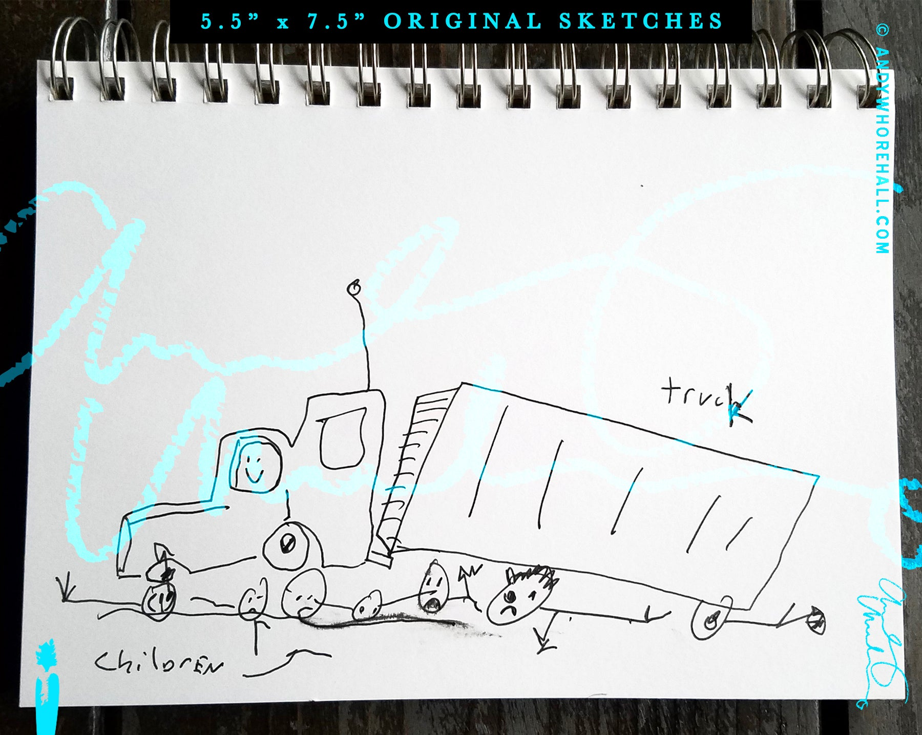 Image of Children Playing Under Truck — Original Art:  Sketch book Series