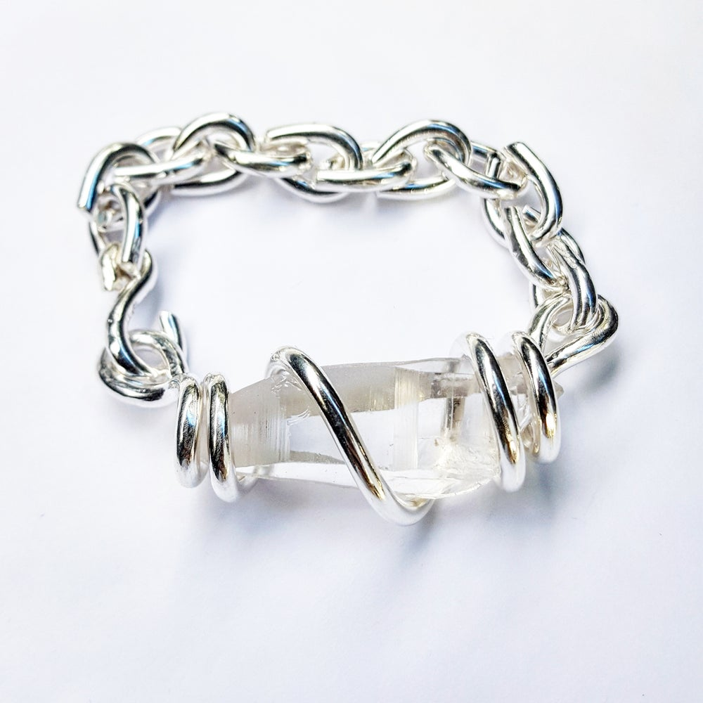 Image of Pure Silver Lemurian Quartz Set Crystal Bracelet