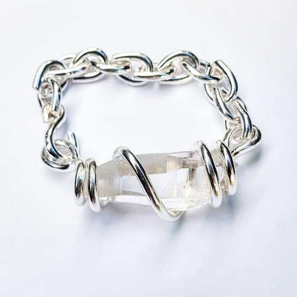 Image of Pure Silver Lemurian Quartz Set Crystal Bracelet