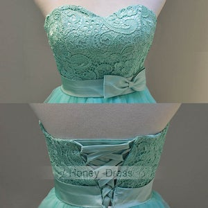Image of Green Mint Tulle Lace Sweetheart Short Cocktail Party Dress With Belt