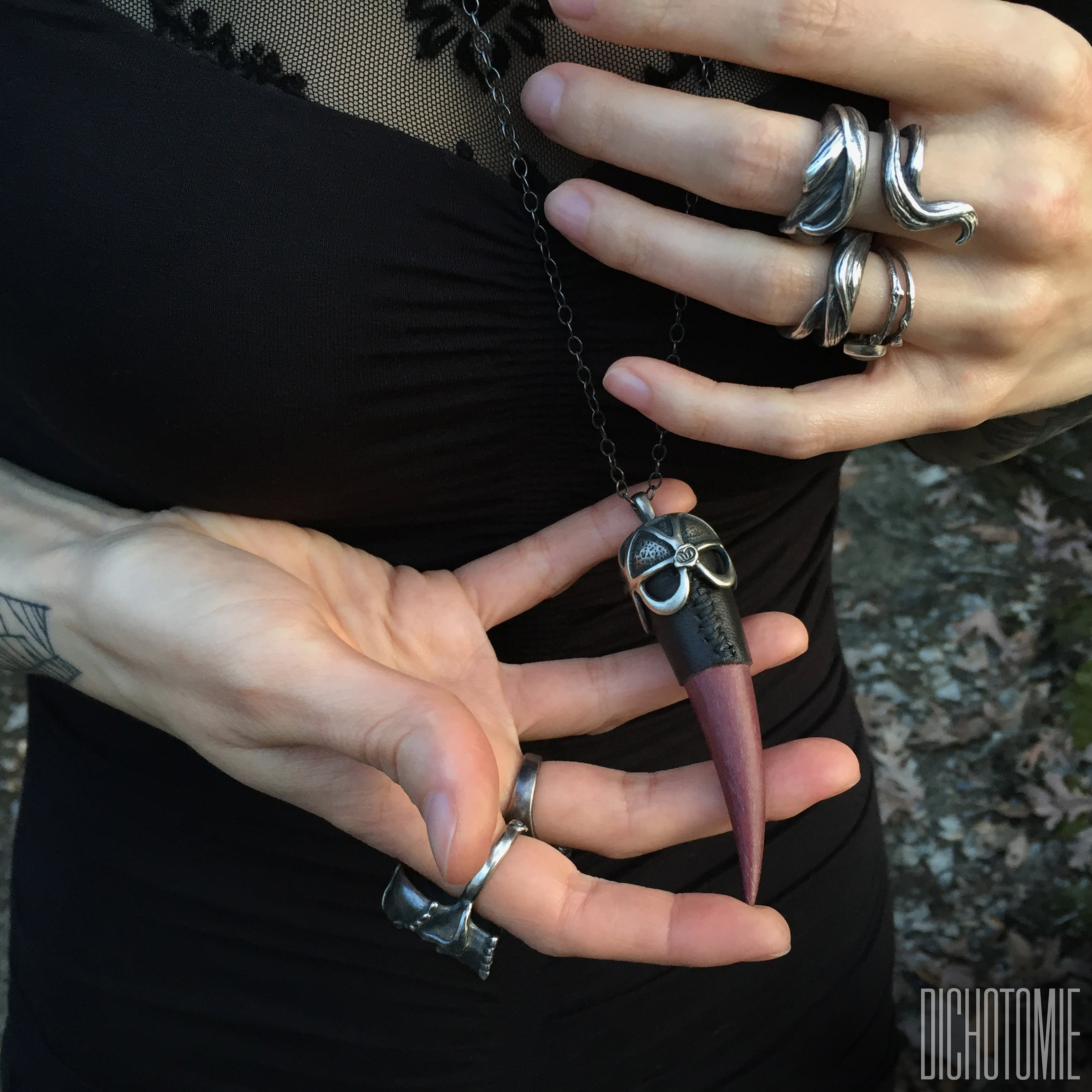 the left hand talisman pendant in silver dichotomie