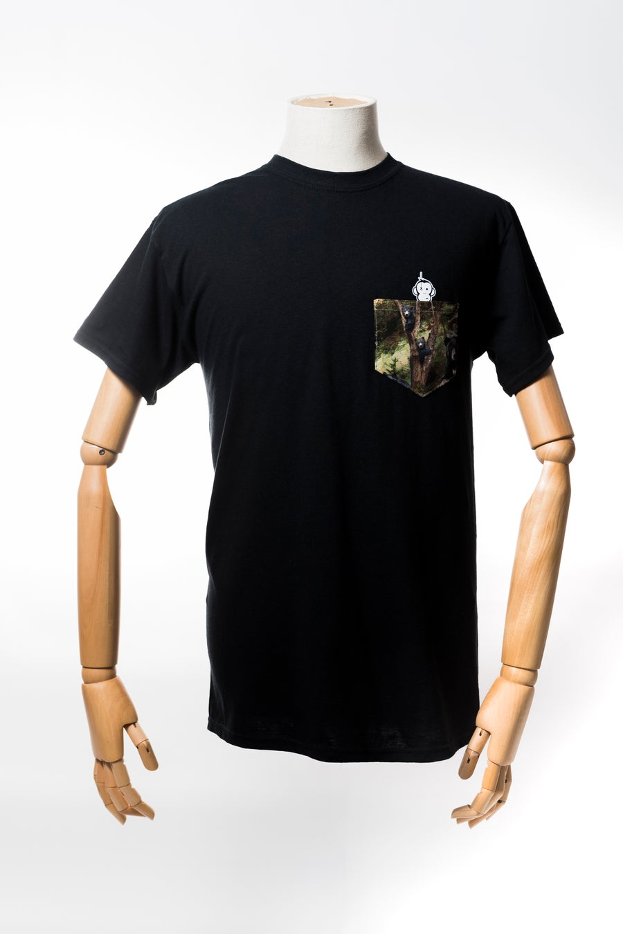 Image of Monkey Climber Bear Cubs pocket tee I Black