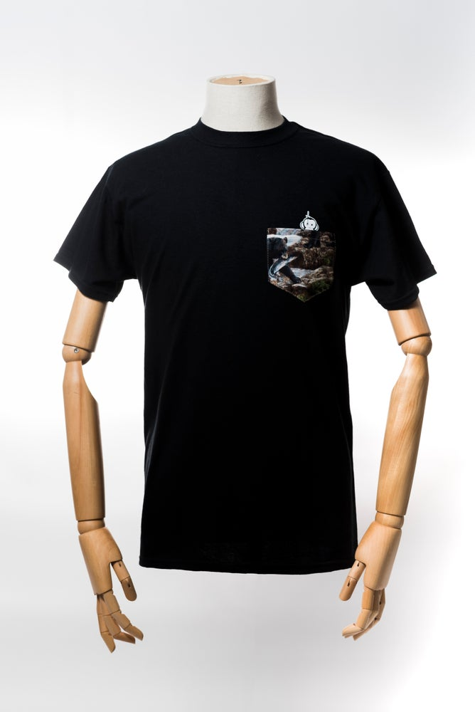 Image of Monkey Climber Bear with Salmon pocket tee I Black
