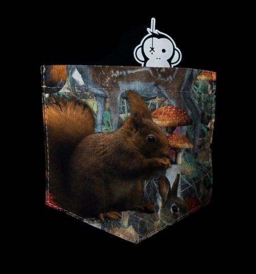 Image of Monkey Climber Secret Squirrel pocket tee or crew I Black - Cream Heather Grey