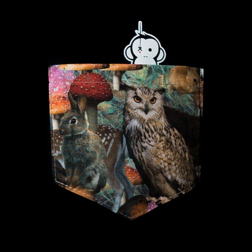 Image of Monkey Climber Night Owl pocket tee or crew I Black - Cream Heather Grey