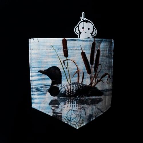 Image of Monkey Climber Duckhunt pocket tee I Black - Cream Heather Grey