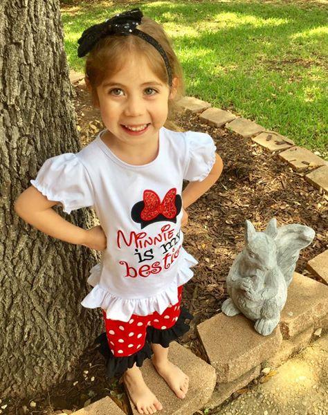 Image of Minnie is my bestie capri pantset, baby, toddler, girl, summer, photos