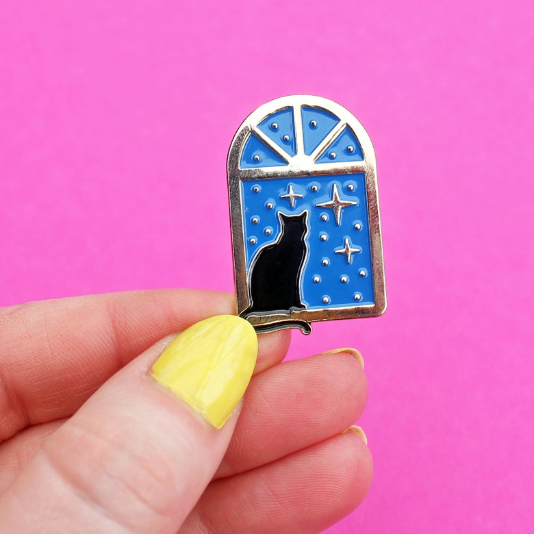 Image of Stargazer Cat, enamel pin - astrology - lapel pin