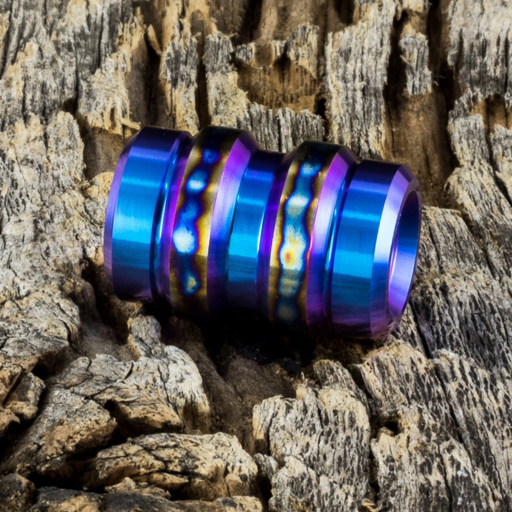 Image of Keg Teal & Flamed Grilled Ti Bead #1