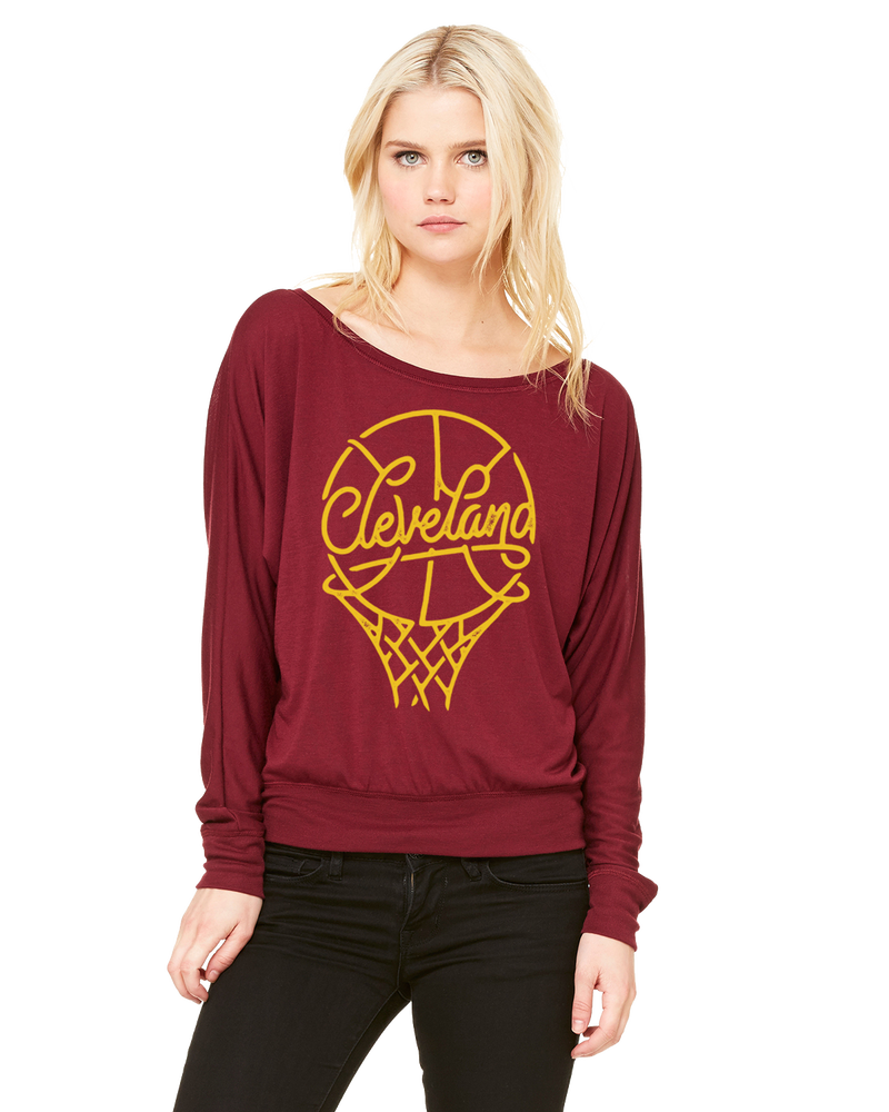Image of Cleveland Basketball ladies maroon long sleeve shirt