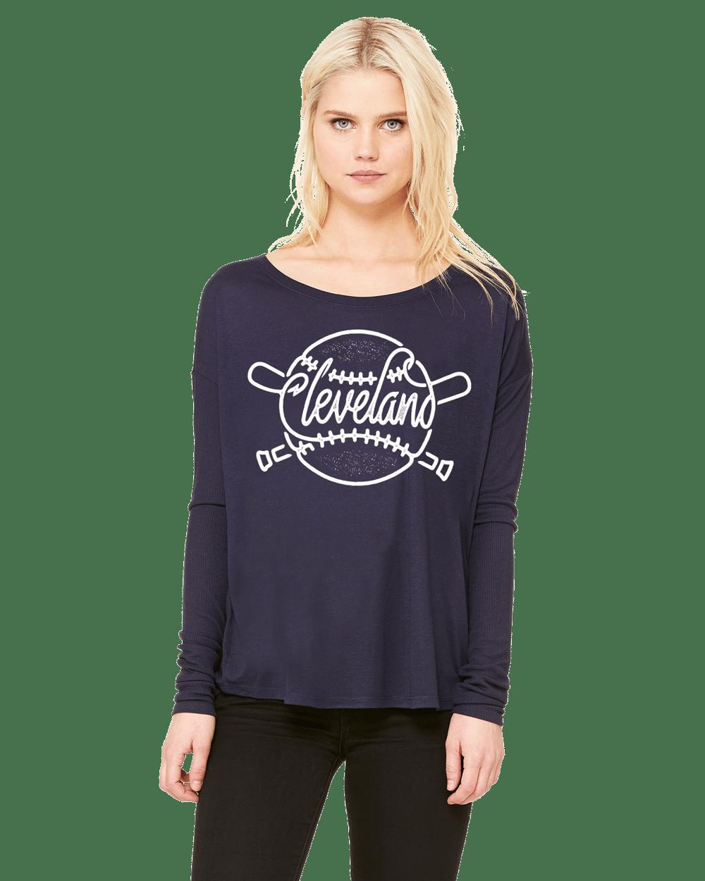 Image of Cleveland Baseball ladies navy long sleeve shirt
