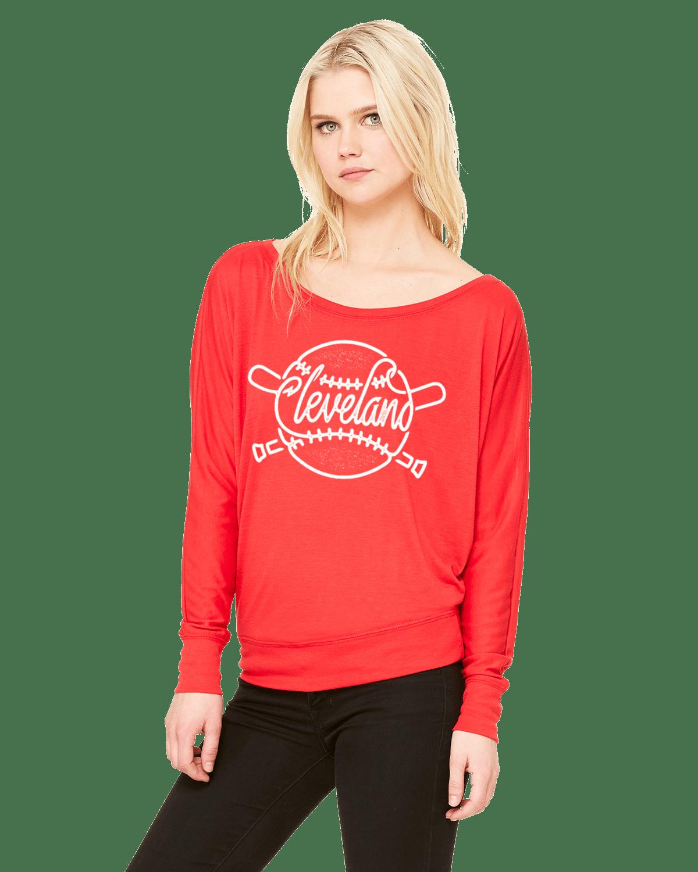 Image of Cleveland Baseball ladies red long sleeve shirt