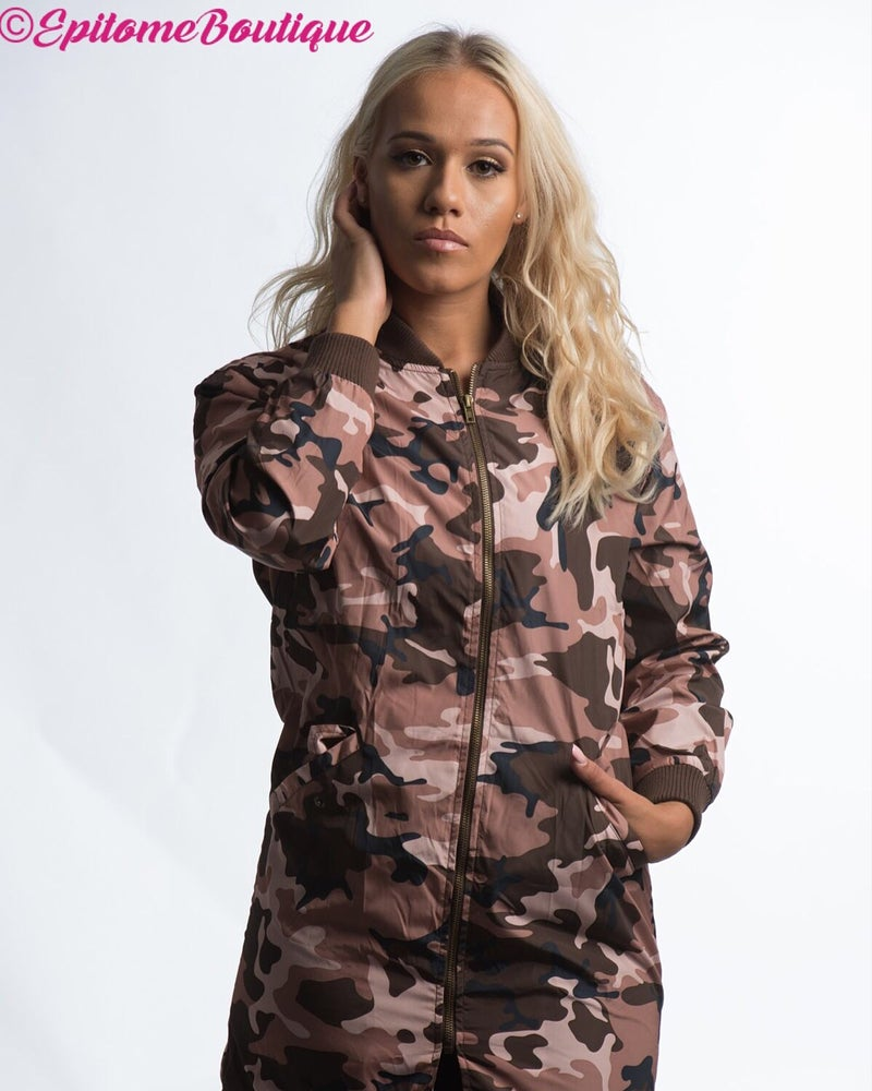 Image of Pink Camo Longline Bomber