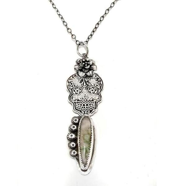 Image of Kahlo-style Dia de los Muertos Sugar Skull Calaveras Pendant Necklace