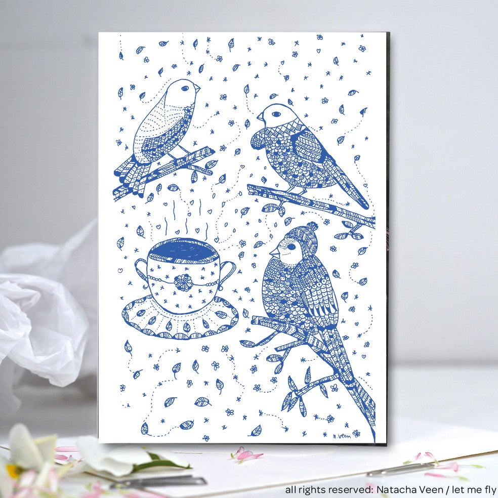 Image of Greeting card *Birds cappuccino*