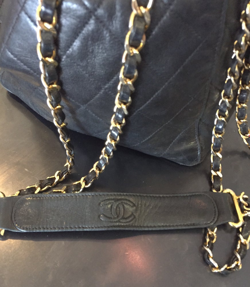 Image of Vintage Chanel Black Lambskin Quilted Bucket Bag