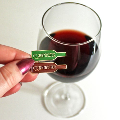 Image of Corkmaster, enamel pin - wine lover - burgundy or green, lapel pin