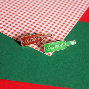 Image of Corkmaster, enamel pin - wine lover - burgundy or green, lapel pin