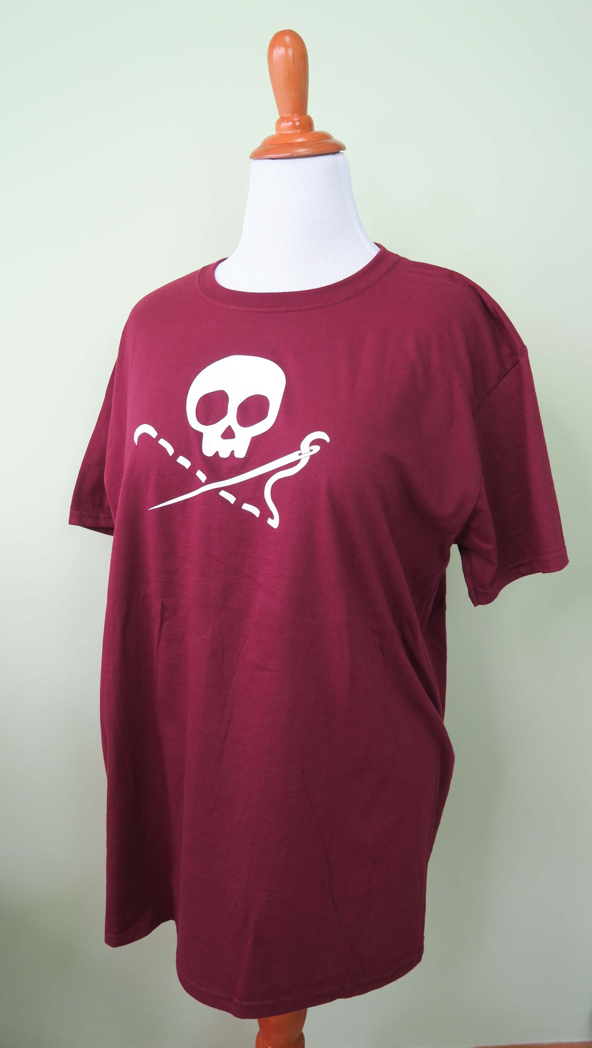 Image of Maroon Sewing Skull Crew Neck Shirt